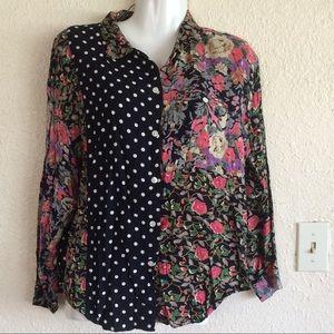 Floral polka dot Button down shirt blouse top m